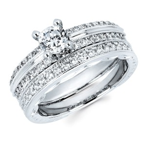 Diamonds White Gold 3/4ct TDW Classic Diamond Bridal Set - Handcrafted By Name My Rings™