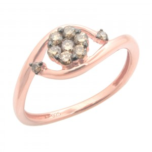Brand New 0.30ct Round Brilliant Cut Brown Color Natural Diamond Engagement Ring - Handcrafted By Name My Rings™