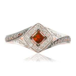 Brand New 0.52 Carat Princess and Round Shaped Cognac Diamond with Diamond Engagement Ring - Handcrafted By Name My Rings™