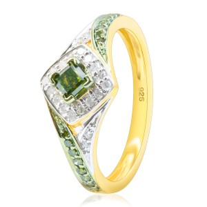 Brand New 0.52 Carat Princess and Round Shaped Green Diamond with Diamond Engagement Ring - Handcrafted By Name My Rings™