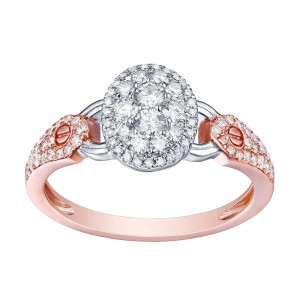 Brand New 0.57 Carat Round Brilliant Cut Natural G-H/SI1 Diamond Engagement Designer Ring - White G-H - Handcrafted By Name My Rings™