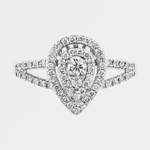 White Gold 1/ 2ct TDW Diamond Double Halo Pear Engagement Ring - Handcrafted By Name My Rings™