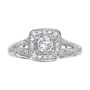 White Gold 3/ 4ct TDW Diamond Halo Engagement Ring - Handcrafted By Name My Rings™