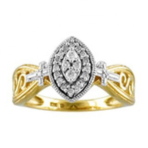 Two-tone Gold 1/ 6ct TDW Diamond Marquise Halo Engagement Ring - Handcrafted By Name My Rings™