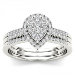 Gold 1/2ct TDW Diamond Bridal Set - Handcrafted By Name My Rings™