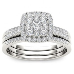 Gold 1/2ct TDW Diamond Halo Engagement Ring Set - Handcrafted By Name My Rings™