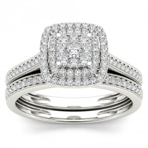 Gold 1/3ct TDW Diamond Cluster Halo Bridal Set - Handcrafted By Name My Rings™