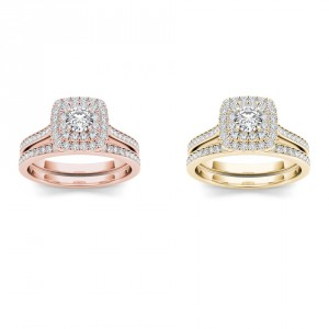 Gold 3/4ct TDW Diamond Halo Engagement Ring Set - Handcrafted By Name My Rings™