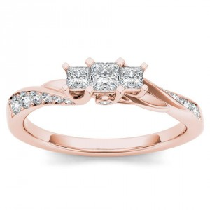 Rose Gold 1/2ct TDW Diamond Three-Stone Anniversary Ring - Handcrafted By Name My Rings™