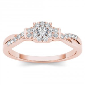 Rose Gold 1/4ct TDW Diamond Three-Stone look Engagement Ring - Handcrafted By Name My Rings™