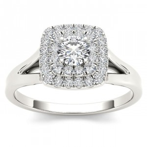White Gold 1/2ct TDW Diamond Double Halo Engagement Ring - Handcrafted By Name My Rings™