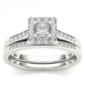 White Gold 1/2ct TDW Diamond Halo Engagement Ring Set with One Band - Handcrafted By Name My Rings™