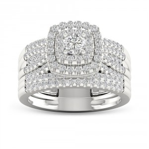 White Gold 1ct TDW Diamond Bridal Set Ring - Handcrafted By Name My Rings™