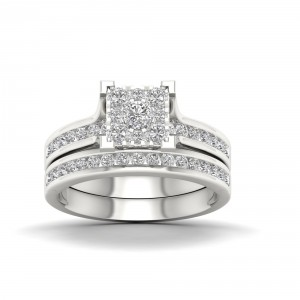 White Gold 1ct TDW Diamond Cluster Bridal Set - Handcrafted By Name My Rings™