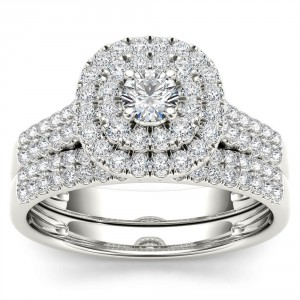 White Gold 1ct TDW Diamond Double Halo Engagement Ring Set with One Band - Handcrafted By Name My Rings™