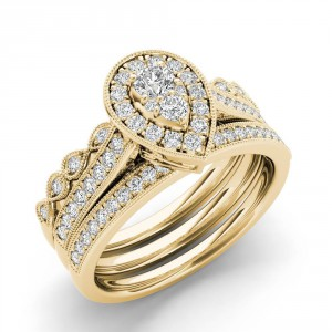 Gold 1/2 ct TDW Diamond Halo Engagement Ring Set - Handcrafted By Name My Rings™