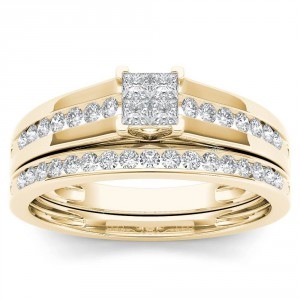 Gold 1/2ct TDW Diamond Classic Engagement Ring Set with One Band - Handcrafted By Name My Rings™