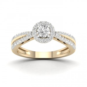Gold 1/2ct TDW Diamond Cluster Ring - Handcrafted By Name My Rings™
