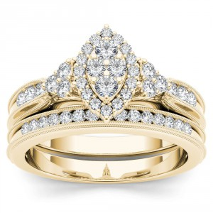 Gold 1/2ct TDW Diamond Marquise-Framed Halo Engagement Ring Set - Handcrafted By Name My Rings™