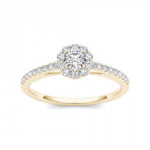 Gold 1/2ct TDW Diamond Solitaire Engagement Ring - Handcrafted By Name My Rings™
