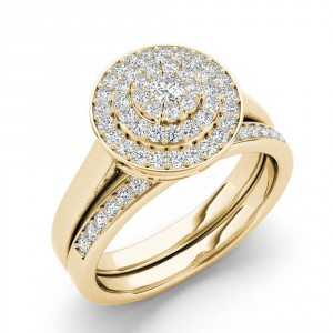 Gold 1/4ct TDW Cluster Halo Bridal Set - Handcrafted By Name My Rings™