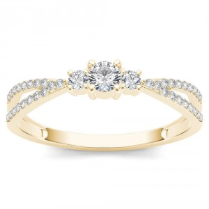 Gold 1/4ct TDW Diamond Three-Stone Anniversary Ring - Handcrafted By Name My Rings™