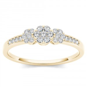 Gold 1/5ct TDW Diamond Cluster Engagement Ring - Handcrafted By Name My Rings™