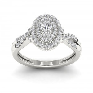 1/2ct TDW Diamond Oval Shape Halo Engagement Ring - Handcrafted By Name My Rings™