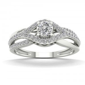 1/3ct TDW Diamond Split Shank Engagement Ring - Handcrafted By Name My Rings™