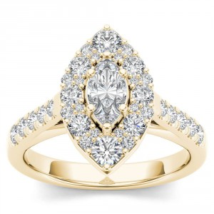 Gold 1 1/2ct TDW Marquise Shape Diamond Halo Engagement Ring - Handcrafted By Name My Rings™