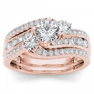 Rose Gold 1 1/4ct TDW Diamond Bypass Bridal Ring Set - Handcrafted By Name My Rings™
