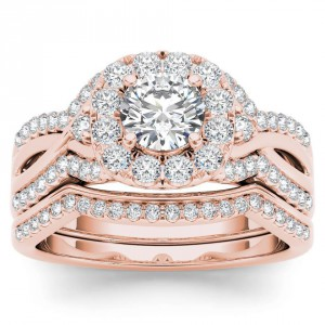 Rose Gold 1 1/4ct TDW Diamond Halo Engagement Ring Set with One Band - Handcrafted By Name My Rings™