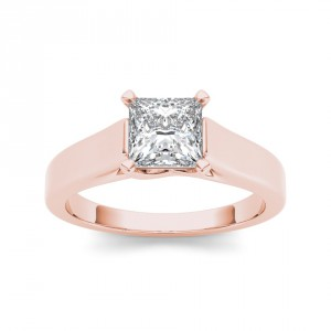 Rose Gold 1 1/4ct TDW Diamond Princess-cut Solitaire Ring - Handcrafted By Name My Rings™