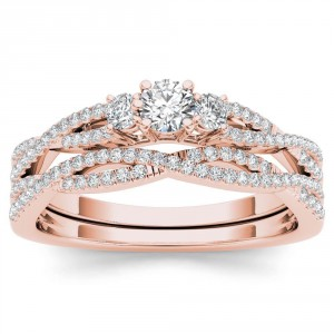 Rose Gold 1/2ct TDW Diamond Three-Stone Anniversary Ring Set with One Band - Handcrafted By Name My Rings™