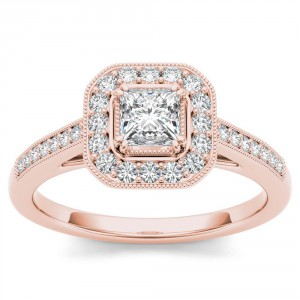Rose Gold 1/2ct TDW Princess-cut Diamond Vintage Halo Engagement Ring - Handcrafted By Name My Rings™