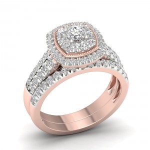 Rose Gold 1ct TDW Diamond Cluster Halo Bridal Set - Handcrafted By Name My Rings™