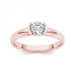 Rose Gold 1ct TDW Diamond Half-Bezel Engagement Ring - Handcrafted By Name My Rings™