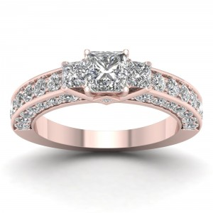Rose Gold 2 2/5ct TDW Diamond Princess-cut Three-stone Ring - Handcrafted By Name My Rings™