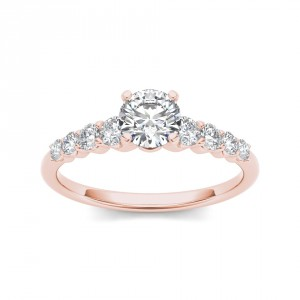Rose Gold 3/4ct TDW Classic Diamond Engagement Ring - Handcrafted By Name My Rings™
