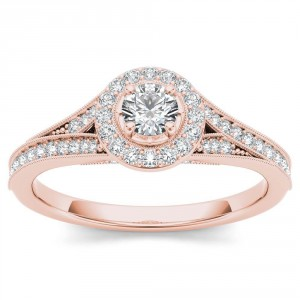 Rose Gold 5/8ct TDW Diamond Halo Engagement Ring - Handcrafted By Name My Rings™