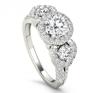 White Gold 1 5/8ct TDW Diamond Three-Stone Anniversary Ring - Handcrafted By Name My Rings™