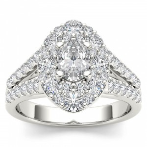 White Gold 1 7/8ct TDW Oval Shape Diamond Halo Engagement Ring - Handcrafted By Name My Rings™