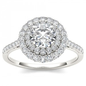 White Gold 1ct TDW Diamond Double Halo Engagement Ring - Handcrafted By Name My Rings™