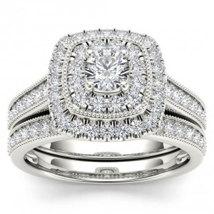 White Gold 3/4ct TDW Diamond Double Halo Bridal Ring Set - Handcrafted By Name My Rings™