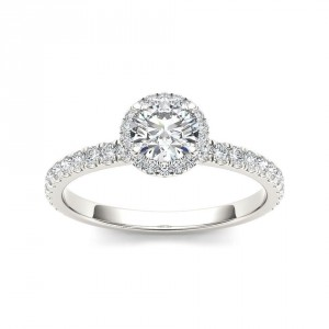 White Gold 3/4ct TDW Diamond Halo Engagement Ring - Handcrafted By Name My Rings™