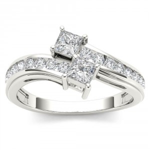 White Gold 3/4ct TDW Two-Stone Diamond Engagement Ring - Handcrafted By Name My Rings™