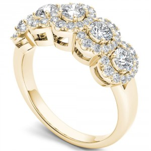 Gold 1 1/10ct TDW Diamond Halo Ring - Handcrafted By Name My Rings™