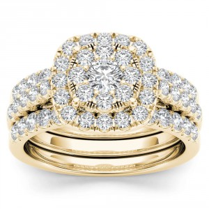 Gold 1 1/2ct TDW Diamond Halo Engagement Ring Set with Two Bands - Handcrafted By Name My Rings™