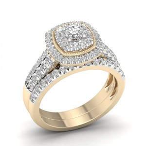 Gold 1ct TDW Diamond Cluster Halo Bridal Set - Handcrafted By Name My Rings™