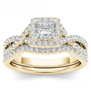 Gold 1ct TDW Diamond Criss-Cross Halo Engagement Ring Set with One Band - Handcrafted By Name My Rings™